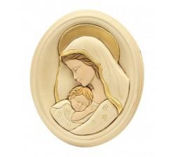 Madonna con Bambino Moderna Quadro Ovale Ceramica e Polvere di Alabastro