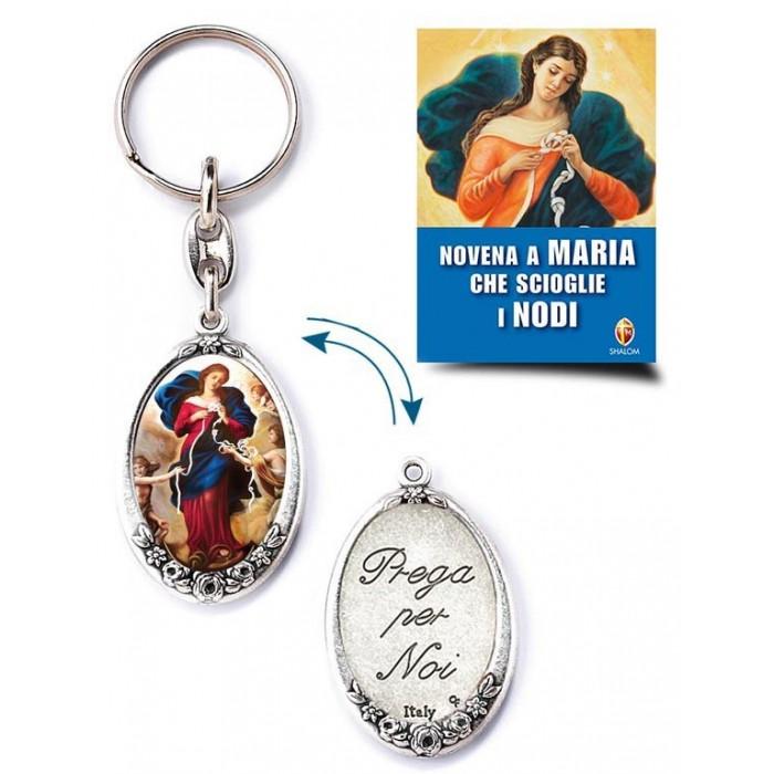 PORTACHIAVI OVALE MARIA CHE SCIOGLIE I NODI CON LIBRO NOVENA
