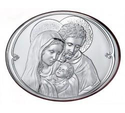 Quadro Ellittico Sacra Famiglia Argento e Legno