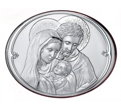 Quadro ellittico Sacra Famiglia in Argento