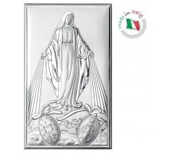 quadro Madonna Miracolosa in argento bilaminato