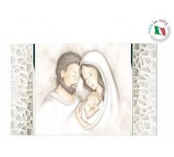 Quadro Sacra Famiglia Argento Bilaminato e Legno