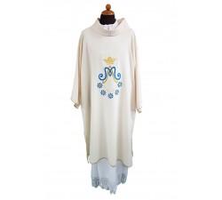 veste dalmatica diaconale con con simbolo mariano ricamato
