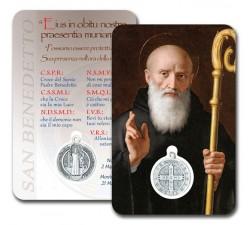 CARD PLASTIFICATA SAN BENEDETTO CON MEDAGLIA (CONF. 10 Pz)