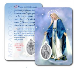 CONF 50-100 CARD PLASTIFICATA MADONNA MIRACOLOSA CON MEDAGLIA