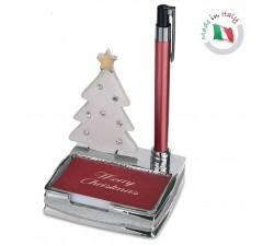 porta post-it natalizio con penna e decorazione albero di natale