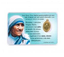 card santino devozionale Santa Madre Teresa di Calcutta con Medaglia Miracolosa