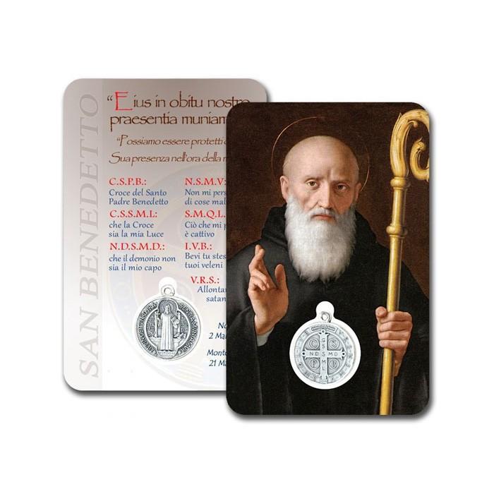 CONF. 50-100 PZ. CARD PLASTIFICATA S.BENEDETTO CON MEDAGLIA