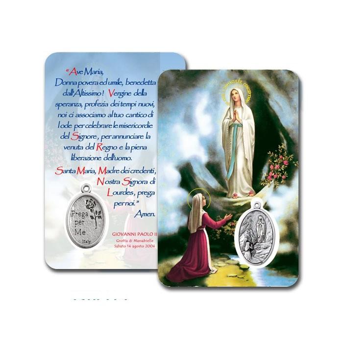 CONF. 50-100 PZ. CARD PLASTIFICATA MADONNA LOURDES CON MEDAGLIA