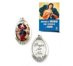 CONF. 10 PZ. MEDAGLIA OVALE MARIA CHE SCIOGLIE I NODI E LIBRO NOVENA