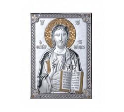Icone Gesù ICONA CRISTO PANTOCRATORE SU LASTRA ARGENTO 925