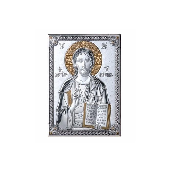 ICONA CRISTO PANTOCRATORE SU LASTRA ARGENTO 925