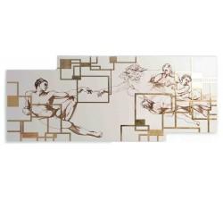 Grande Pannello Capoletto in Legno Laccato e Foglia Oro Creazione di Adamo