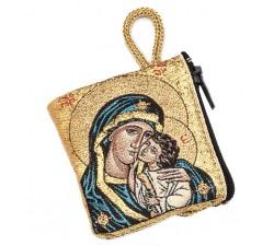 porta rosario madonna manto blu