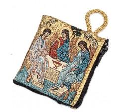 Borsellino Portarosario in Tessuto Decorato Santissima Trinità