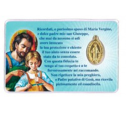 card santino devozionale San Giuseppe con Medaglia Miracolosa