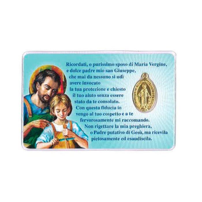 CARD PLASTIFICATA SAN GIUSEPPE E MEDAGLIA MIRACOLOSA