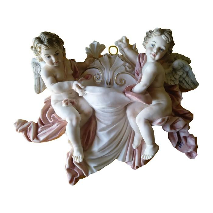 ACQUASANTIERA CON ANGELI IN POLVERE DI MARMO DIPINTA A MANO