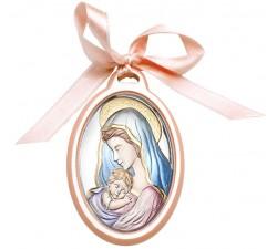 Capoculla Madonna con Bambino su Lastra Argento Lavorata e Dipinta a Mano
