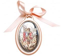 Capoculla San Michele Arcangelo su Lastra Argento Lavorata e Dipinta a Mano
