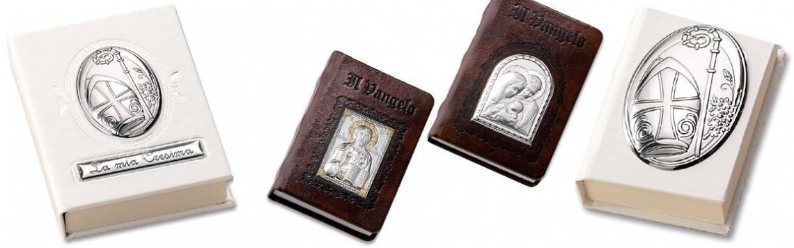 Vangelo e Bibbia in pelle | con placca in Argento